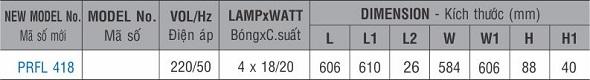 Máng đèn huỳnh quang âm trần PRFL 418 Paragon 4x18W