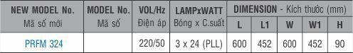 Máng đèn huỳnh quang âm trần PRFM 324 Paragon 3x24W