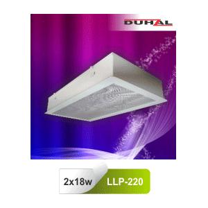 Máng đèn huỳnh quang âm trần Duhal LLP220 2x18W chóa nhựa
